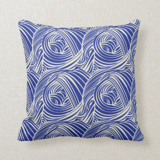 BLUE & WHITE SWIRLS, Retro Print Cushion