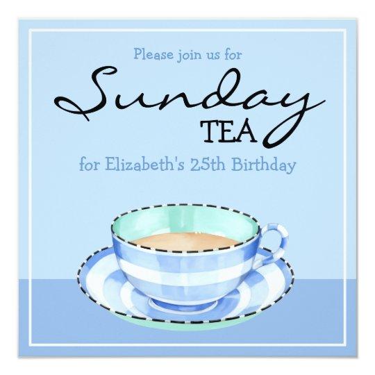 Blue White Teacup blue Birthday Tea Invitation