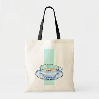 Blue White Teacup white green Bag