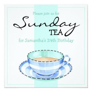 Blue White Teacup white green Birthday Invitation