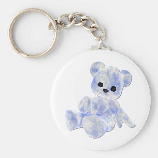 Blue & White Teddy Bear Basic Round Button Key Ring