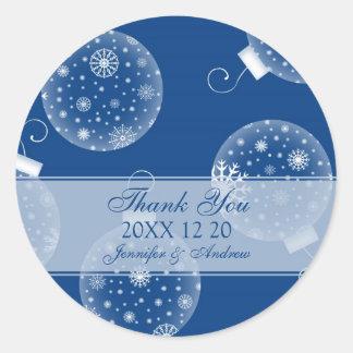 Blue White Thank You Winter Wedding Stickers