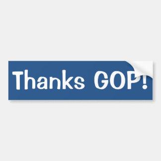 Blue-White Thanks GOP bumpersticker Bumper Sticker