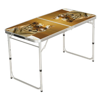 Blue White Tiger Beer Pong Table