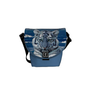 Blue White Tiger Courier Bag