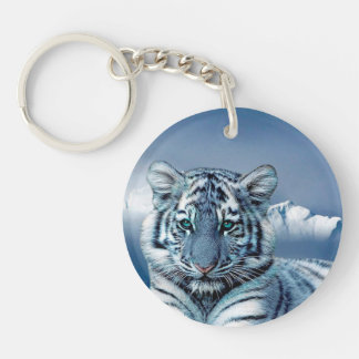 Blue White Tiger Key Ring