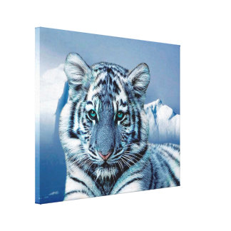 Blue White Tiger Wrapped Canvas