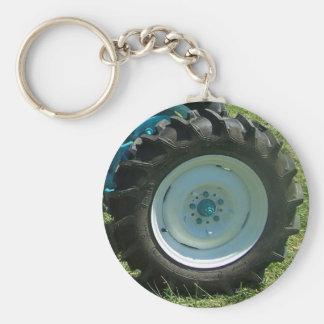 blue white tractor wheel key ring