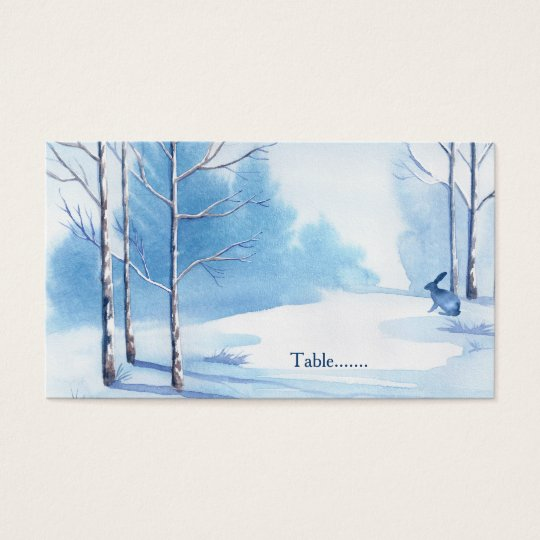 Blue White Trees Rabbit Winter Wedding Place Cards