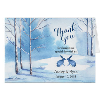 Blue White Trees Rabbit Winter Wedding Thank You Card