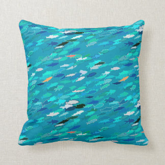 Blue, white, turquoise school of fish cushion