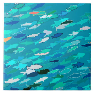 Blue, white, turquoise school of fish large square tile