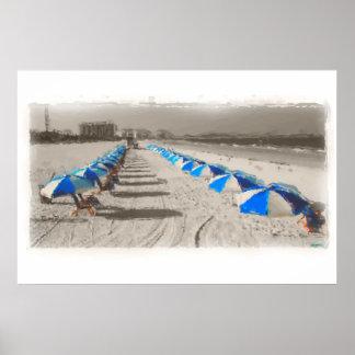 Blue & White umbrellas Posters