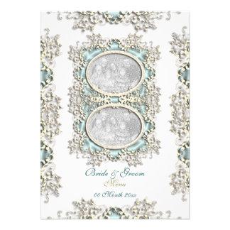 Blue white vintage filigree photo personalized invitations