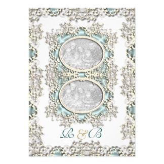 Blue white vintage filigree photo personalized invites