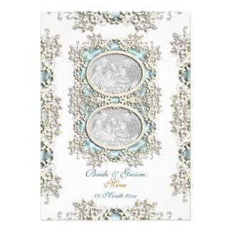 Blue white vintage filigree photo custom invites