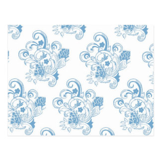 Blue & White Vintage Floral Pattern Postcard