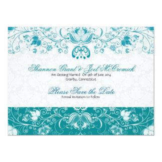 Blue & White Vintage Flowers -Save The Date 17 Cm X 22 Cm Invitation Card