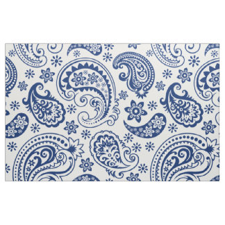 Blue & White Vintage Paisley Pattern Fabric