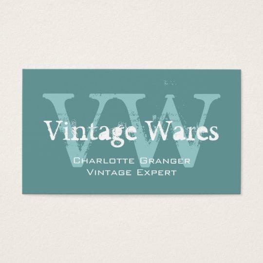 Blue White Vintage Shop Business Card Monograms