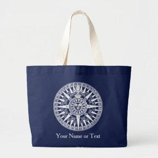 Blue White Vintage Wind Rose Compass Design Bag