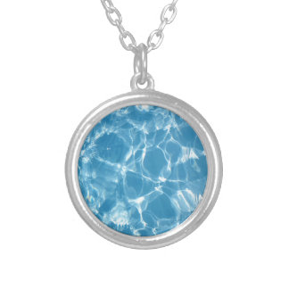 Blue White Water Top  Ripples Silver Plated Necklace