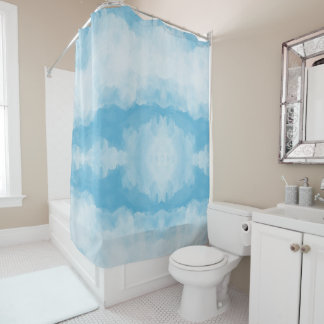 Blue White Watercolor Abstract Shower Curtain