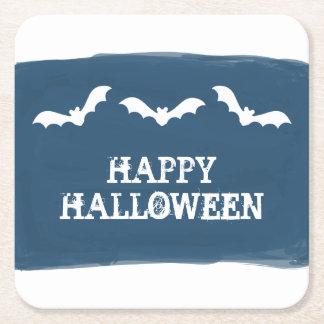Blue White Watercolor Bats Halloween Square Paper Coaster