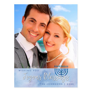 Blue & White Watercolor Hanukkah Photo Postcard