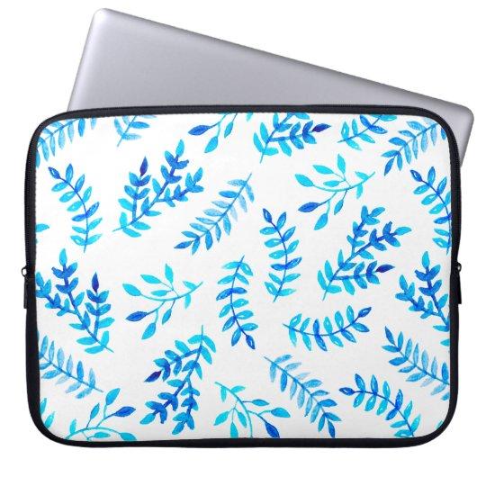 Blue White Watercolor Leaves Modern Laptop Sleeve
