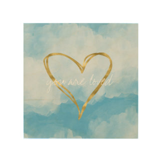 Blue White Watercolor Sky Gold Heart Love Wood Wall Decor