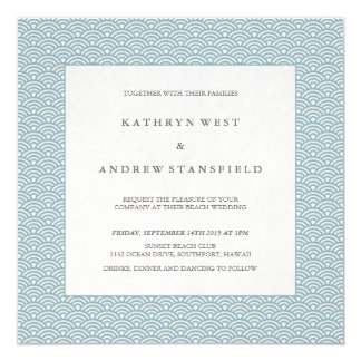 Blue + White Wave Pattern Beach Wedding Invitation