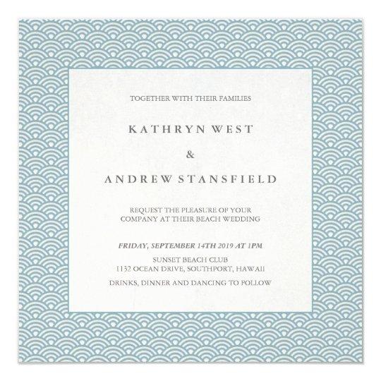 Blue + White Wave Pattern Beach Wedding Invitation