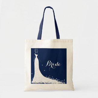 Blue & White Wedding Dress & Vintage Lace Budget Tote Bag