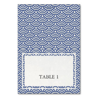 Blue + White Wedding Wave Pattern Place Name Card Table Card
