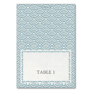 Blue + White Wedding Wave Pattern Place Name Card Table Cards