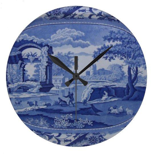 Blue & White Willow-Esque Plate w/English Scenes Clock