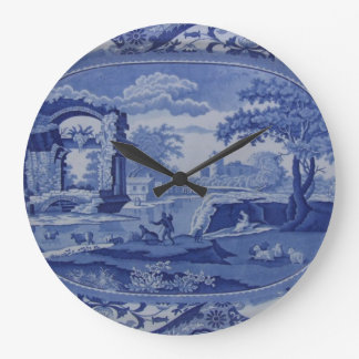 Blue & White Willow-Esque Plate w/English Scenes Large Clock