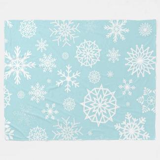 Blue White Winter Snowflake Christmas Holidays Fleece Blanket