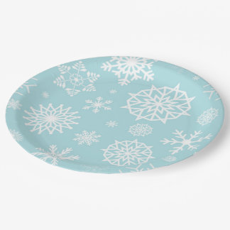 Blue White Winter Snowflake Christmas Holidays Paper Plate