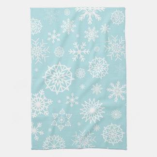 Blue White Winter Snowflake Christmas Holidays Tea Towel