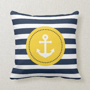 Blue White Yellow Nautical Anchor Pillow