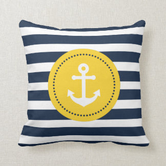 Blue White Yellow Nautical Anchor Pillow