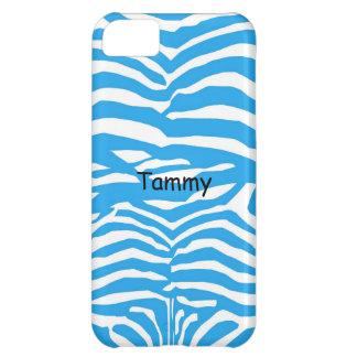 Blue & White Zebra Print iPhone 5c Cover