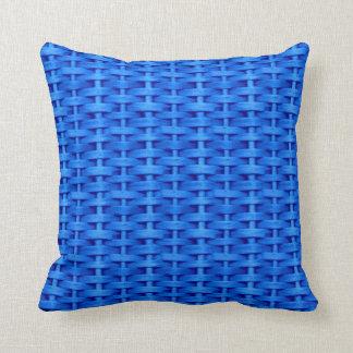 Blue wicker retro graphic design throw cushions