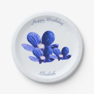 Blue Wild Flowers Paper Plate