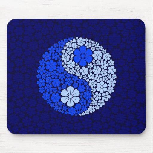 Blue Wild Flowers Yin Yang Mousepads