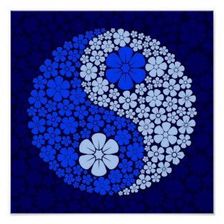 Blue Wild Flowers Yin Yang Poster