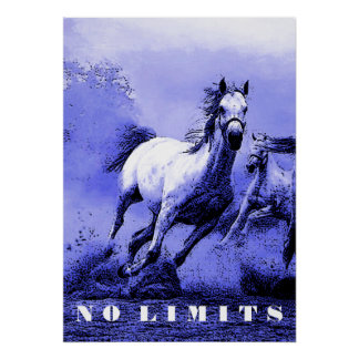 Blue Wild Horses Motivational No Limits Artwork Poster