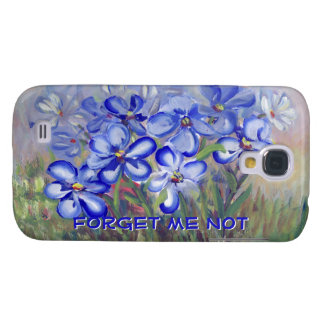 Blue Wildflowers in a Field Fine Art Painting Galaxy S4 Covers